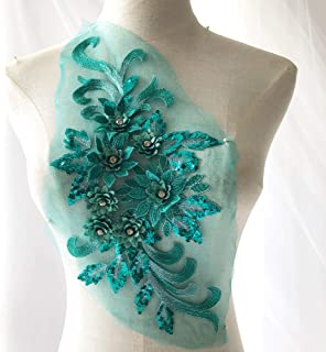 Exquisite Flower Applique,Beaded,Sequined,Floral Patch Lace Appliques Motif for Party Dress Ballgown(Green)