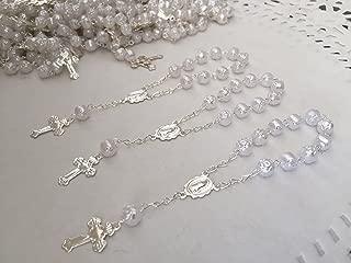 25 Pc Baptism Favors White Silver Plated Mini Rosaries Acrylic Beads/ Recuerditos De Bautismo/ Christening Favors/ Decenarios/ Decades/ Finger Rosaries