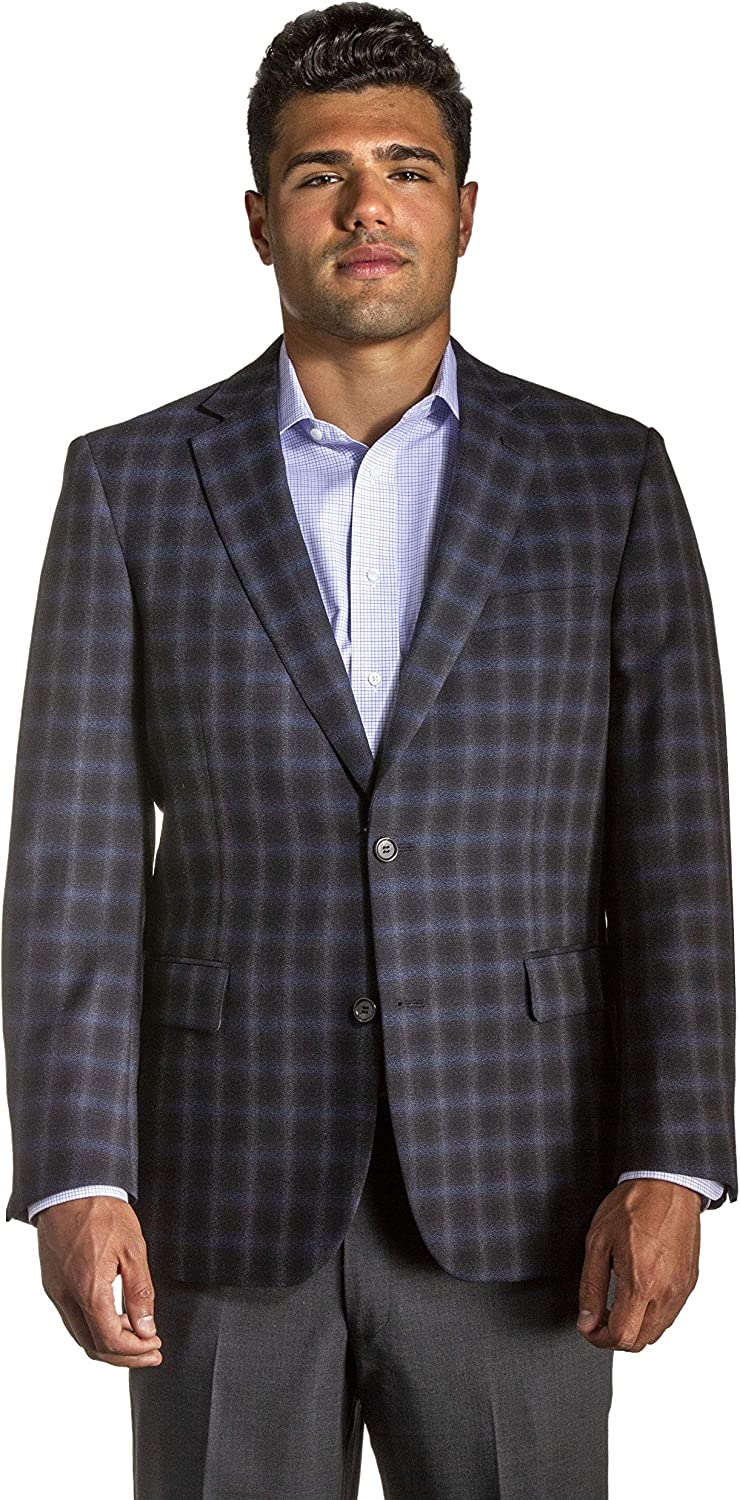 Big and Tall Luxury Silk Wool Blend Sport Coats in Charcoal Blue Plaid to Size 60 in Short, Regular, and Long Sizes