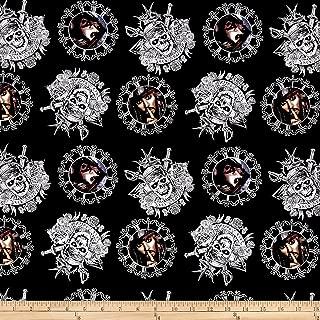 E. E. Schenck Disney Pirates of The Caribbean Captain Jack Sparrow Black Fabric by The Yard,