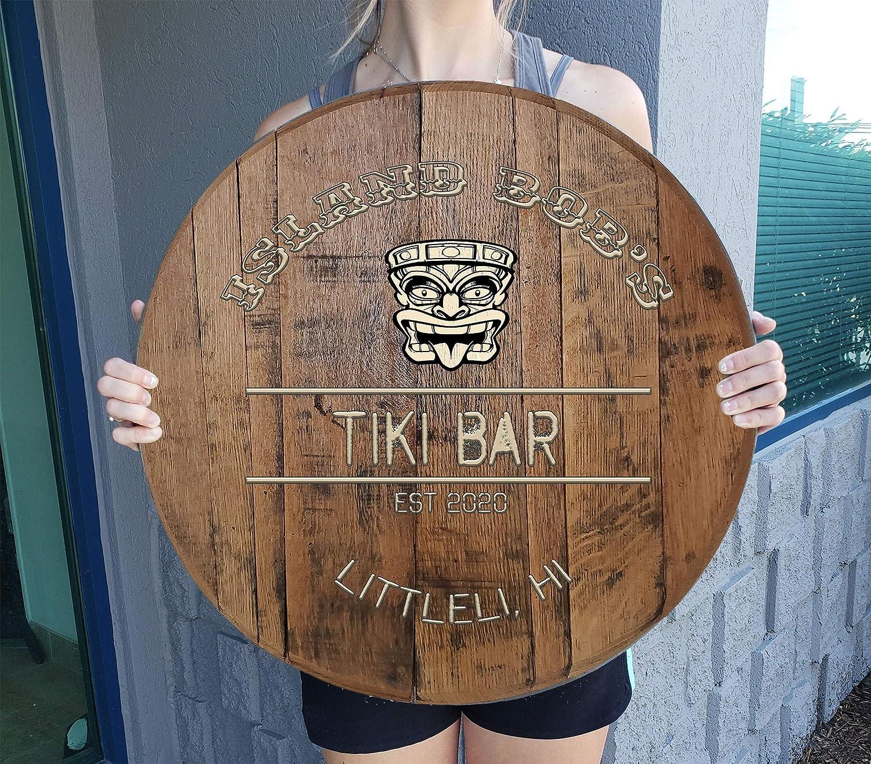CBW Personalized Oak Max 78% OFF Barrel Custom Sign Bar fo Max 67% OFF Tiki