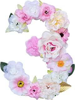 Artificial Decorative Number with Flowers, Pink, 7.9