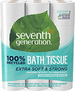 Seventh Generation White Toilet Paper 2-ply 100% Recycled Paper, 24 Count of 240 Sheets Per Roll, Pack of 2