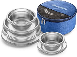 Wealers Stainless Steel Plates and Bowls Camping Set (24-Piece Kit) Small and Large Dinnerware for Kids, Adults, Family | Camping, Hiking, Beach, Outdoor Use | Incl. Travel Bag