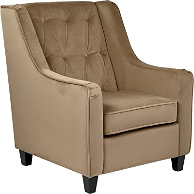 OSP Home Furnishings Curves Tufted Back Armchair with Espresso Finish Solid Wood Legs, Coffee Velvet Fabric