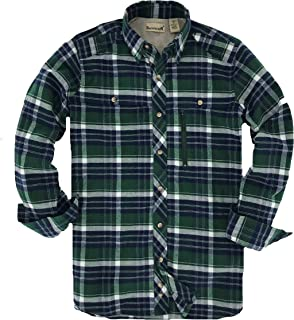 Backpacker Apparel Men's Albacore Stretch Flannel Shirt, Forest Green, Small