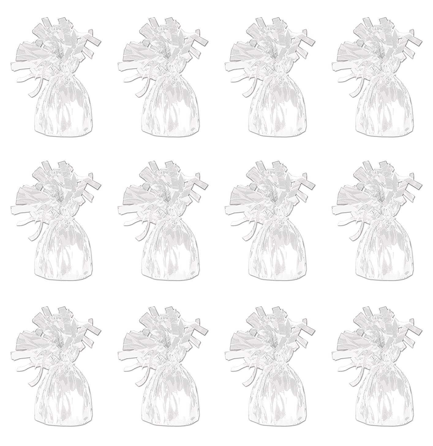 Beistle 50804-W White Metallic Wrapped Balloon Weights, Pack of 12