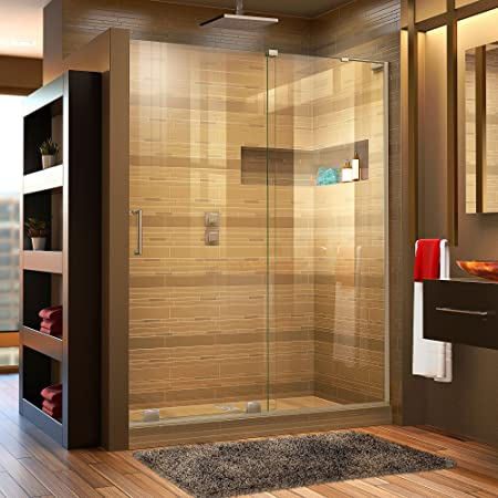 Dreamline Unidoor Plus 57 1 2 58 In W X 72 In H Frameless Hinged Shower Door In Brushed Nickel Shdr 245757210 04