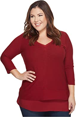 TWO by Vince Camuto - Plus Size Double Layer Mix Media V-Neck Top