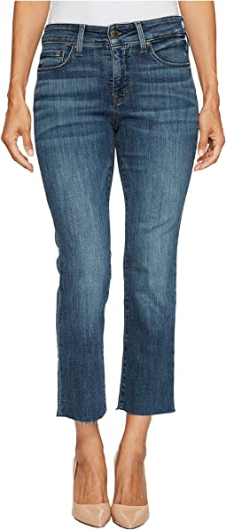 Petite Marilyn Straight Ankle Jeans w/ Raw Hem in Crosshatch Denim in Desert Gold