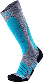 UYN, Calcetines de esquí Pro Race para mujer, Mujer, S100040, Gris jaspeado/Turquoise, 39-40