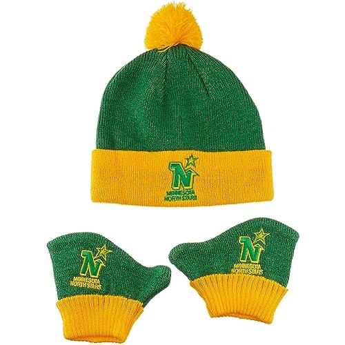 402fc232820 OTS NHL Unisex-Baby NHL Infant Pow Pow Knit Cap   Mittens Set