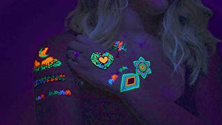UV Tattoos: Daytime and Blacklight Colored Tattoos | (Pattern Design 3) | Rave, Neon, Festival, Party, Club, Henna, Yoga, Glow In The Dark Tattoos by Festival World