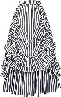 Belle Poque Women's Vintage Stripes Gothic Victorian Skirt Renaissance Style Falda