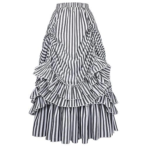 69b3f730b6f Belle Poque Women s Vintage Stripes Gothic Victorian Skirt Renaissance  Style Falda