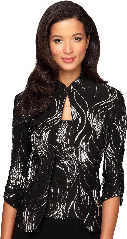 Alex Evenings Women's mandarin collar twinset M BLACK SILVER