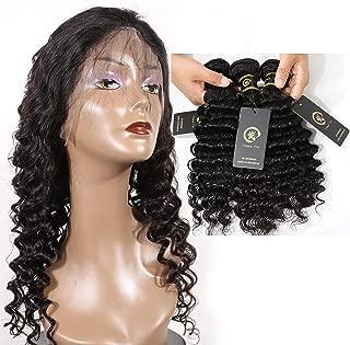 HZSHMM 10A Grade Brazilian Hair Deep Wave 3 Bundles 300g 14〞16〞18〞Natural Black 100% Unprocessed Virgin Human Hair Weaves Hair Weft Hair Extensions(14″ 16″ 18″)