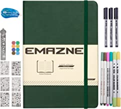 Bullet Journal Kit Emazne Classic Hardcover Notebook,A5,120gsm Paper,Fineliner/Brush-Flexible/Marker Pens,Sticker Sheet,Dotliner Tape Glue,Metal Ruler,Index Tab,Inner Pocket,Designed in US (Green)