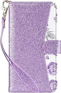 ULAK Glitter iPhone SE/5S/5 Flip Wallet Kickstand Case, Premium PU Leather Case Card Holder ID Slot Wristlet Hand Strap Shockproof Full Protective Cover,Bling Purple