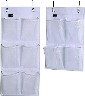 MISSLO Over Door Organizer for Closet Pantry Narrow Door, Pack 2, White