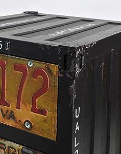 ts-ideen Comò cassettiera armdietto in metallo look: nero stile design industriale container look/vintage
