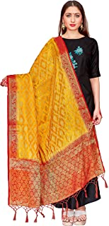 ELINA FASHION Women's Zari Work Indian Banarasi Art Silk Woven Only Dupatta for Dress Material & Salwar Suit