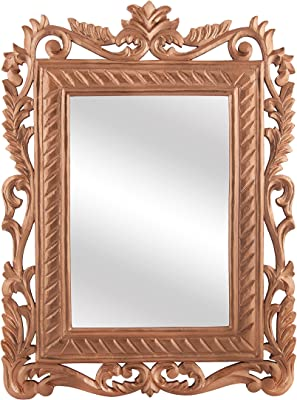 Homesake® French Carved Royal Vintage Decorative Wooden, Rose Gold, Wall Mirror, Antique Rustic Copper
