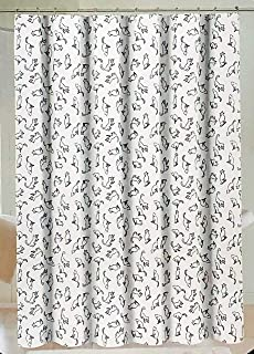 Cynthia Rowley Fabric Shower Curtain Black Cat Outlines on a White Background - Strike a Pose