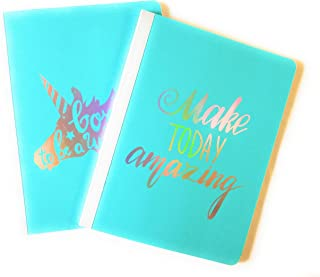 Set of Durable Poly Cover Composition Notebook College Ruled - Unicorn