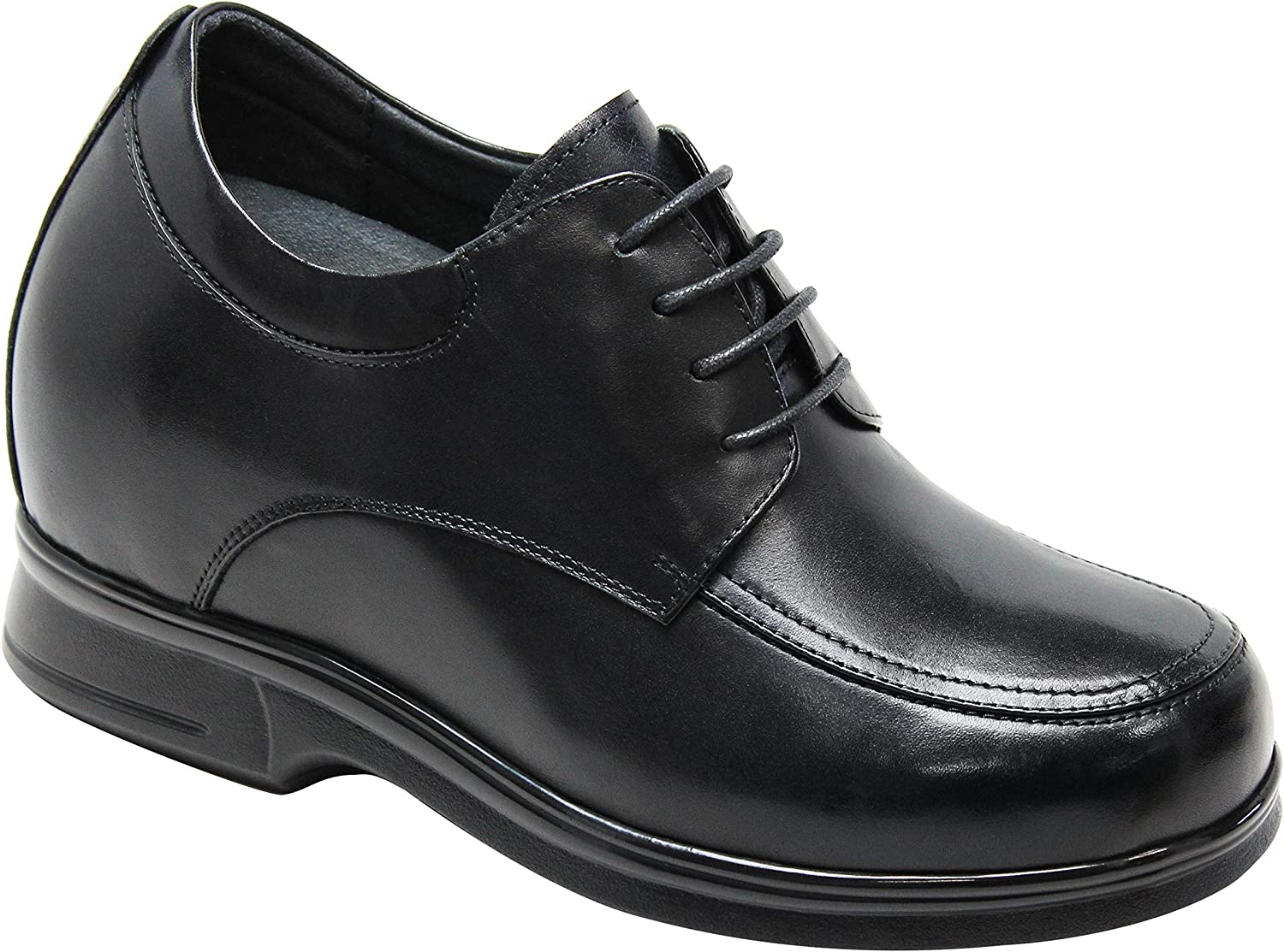 CALTO Men's Invisible Height Increasing Elevator shoes - Black Premium Leather Lace-up Casual Oxfords - 4.4 Inches Taller - T5263