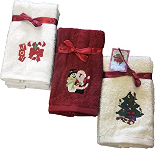 Decorative Luxury Fingetip Towel Set - 6 Piece Christmas Gift Set - Embroidered Holiday Design on Turkish Quality Cotton, 600 GSM (Santa's Collection)