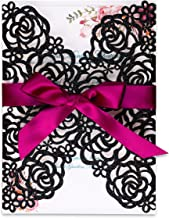 PONATIA 25PCS/Lot 250GSM 5.12 x 7.1'' Laser Cut Hollow Rose with Burgundy Ribbons Glitter Wedding Invitations Cards for Wedding Bridal Shower Engagement Birthday Graduation Invite (Black Glitter)