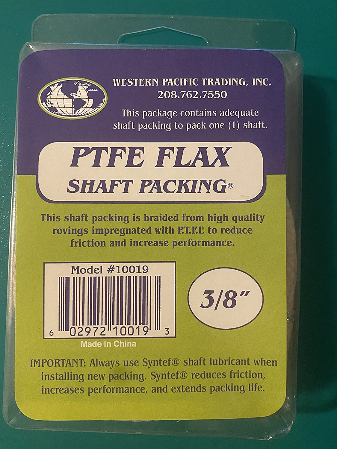 Western Pacific Trading Ranking Don't miss the campaign TOP7 Shaft Packing 2ft 3 x p 8in flax teflon