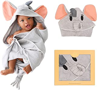 Posh Peanut Baby Hooded Towel – Highly Absorbent Cotton Infant Baby Boy Towel for The House, Beach, Pool – Super Soft Newborn Drying Bath Towel – Great Baby Shower Gift Idea (Elephant)