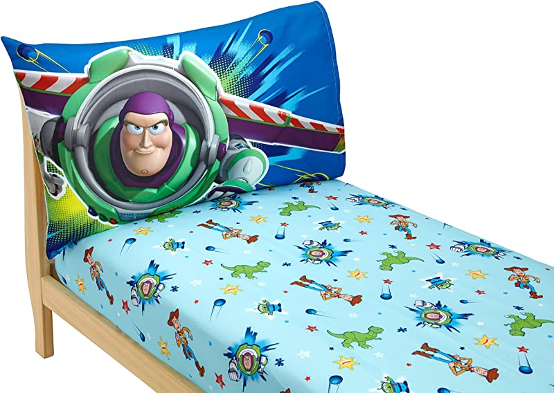Disney Toy Story Power Up 2 Pack Fitted Sheet And Pillowcase Toddler Sheet Set Blue Green
