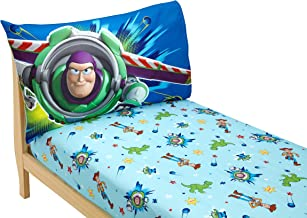 Disney Toy Story Power Up 2 Pack Fitted Sheet and Pillowcase Toddler Sheet Set, Blue/Green