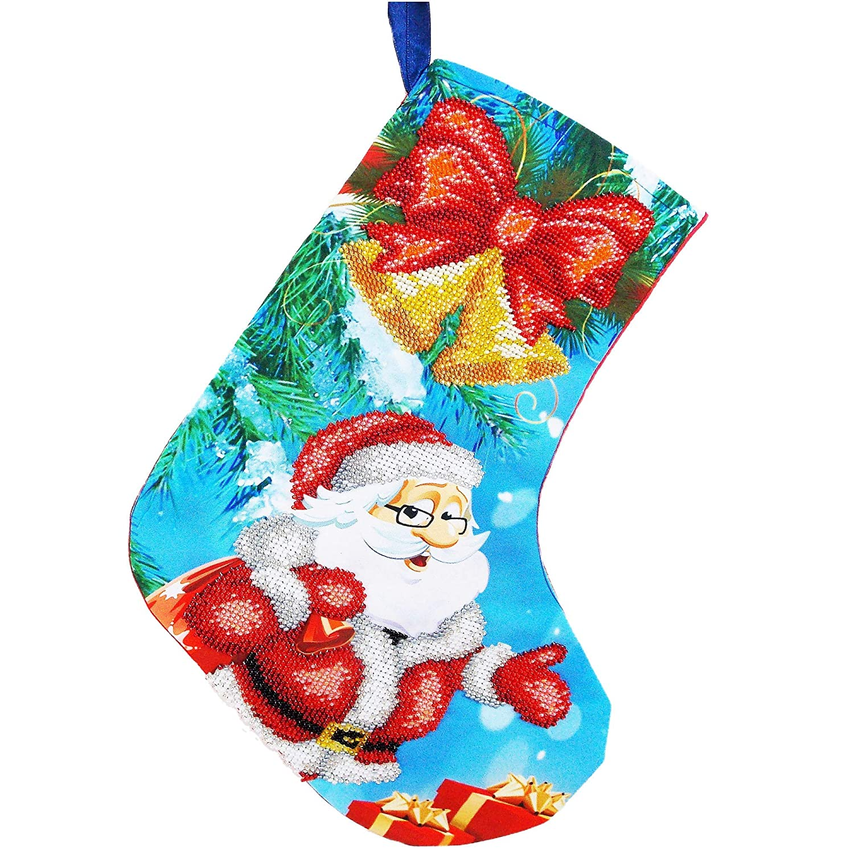 Handmade Save money Beaded Christmas Stocking Santa Bells Bow Jingle Finally resale start Claus