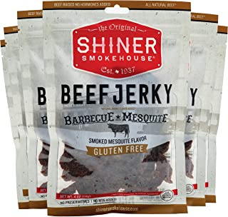 Shiner Smokehouse All Natural Beef Jerky | Barbecue Mesquite Flavor 6 Pack | Unique Flavors | 6ct, 4oz bags