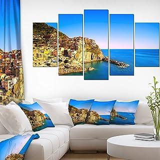 Designart Manarola Village Italy-Extra Large Seashore Canvas Art-60x32 5 Piece-PT11373-373, 60x32-5 Panels Diamond Shape
