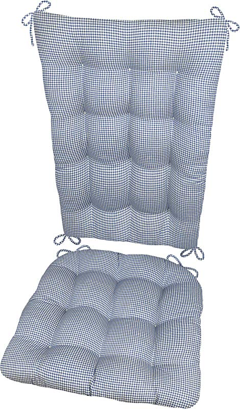 Barnett Products Madrid Dark Blue Rocking Chair Cushions Size Standard Latex Foam Filled Seat Cushion Back Pad Reversible Made In USA Gingham Check