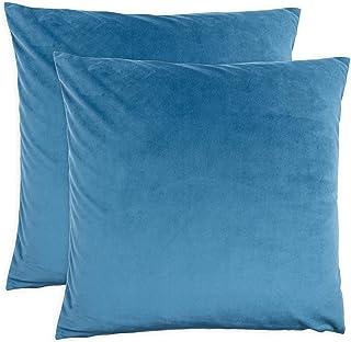KAF Home Velvet Pillow Cover | Set of 2 Pillow Covers (Blue, 18 x 18)