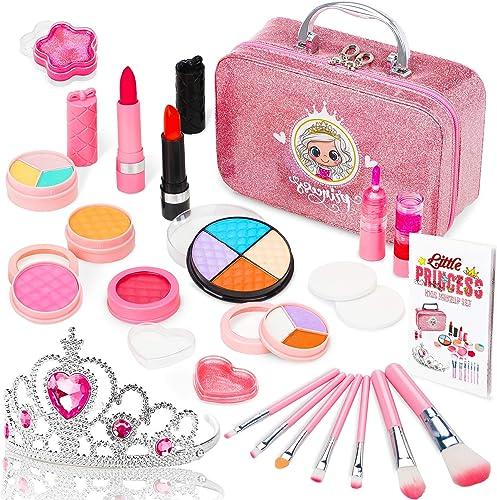 Jojoin Maquillage Enfant Jouet Fille, 22PCS Coffrets De Maquillage avec Couronne de Princesse, Cadeau de Noël Anniver...