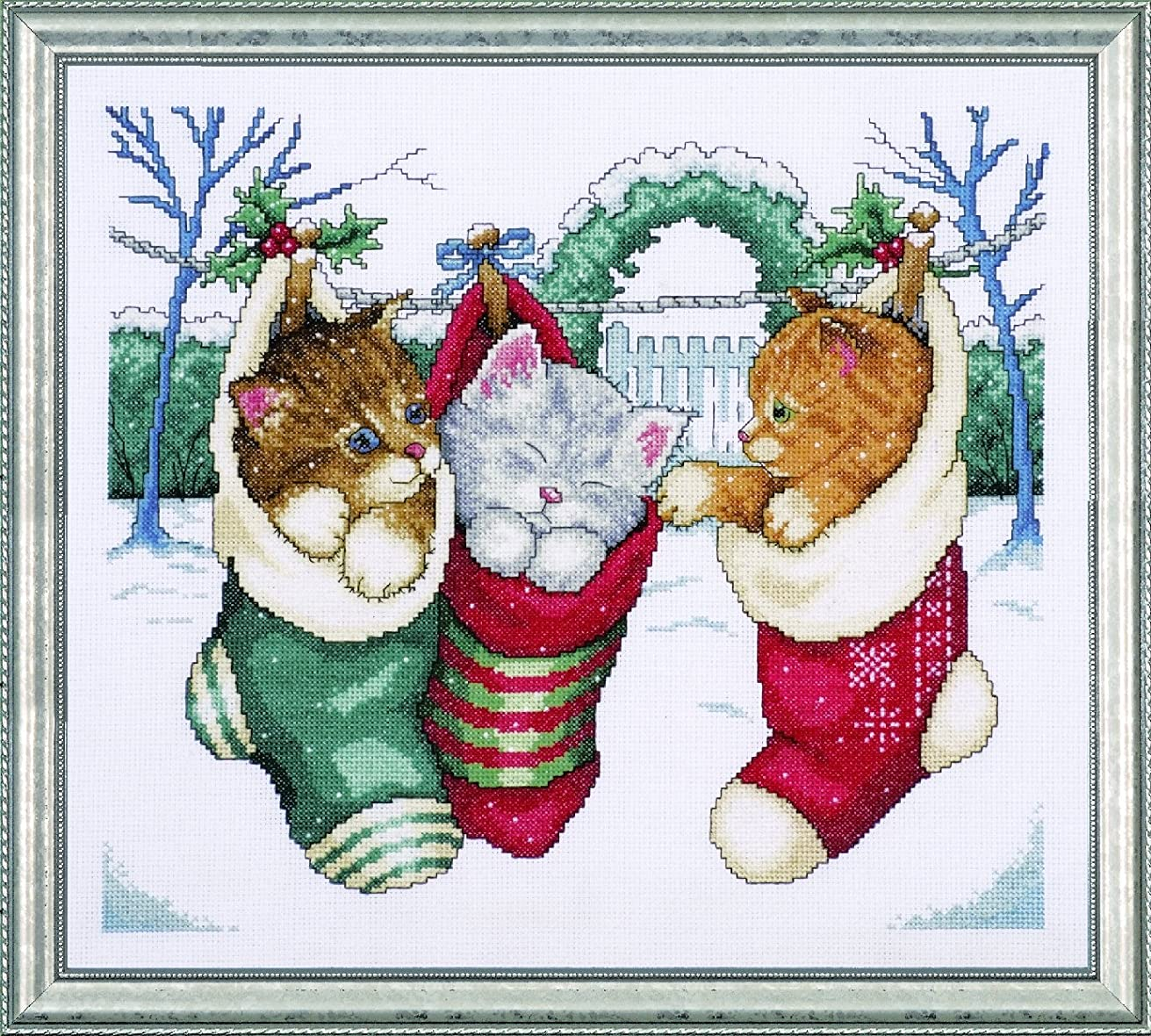 Tobin 5979 Cozy Kittens Counted Cross Stitch Kit, 12-Inch by 14-Inch, 14 Count