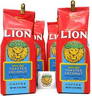 Lion Coffee TOASTED COCONUT, Ground, Light Roast, Four 10 Ounce Bags with Exclusive Lion Coffee Factory Direct Brand Registered Sticker, ISLAND-STYLE (pack of 4)