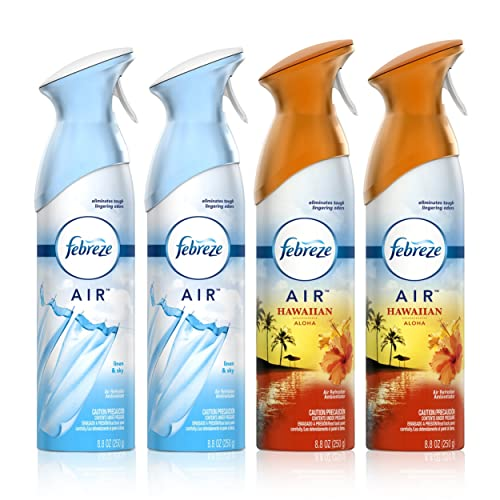 Febreze Air Freshener and Odor Spray, Linen & Sky and Hawaiian Aloha scents, 8.8oz, 4 Pack
