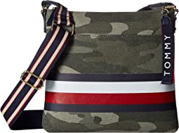Carmel Large North/South Camo Canvas Stripe Crossbody