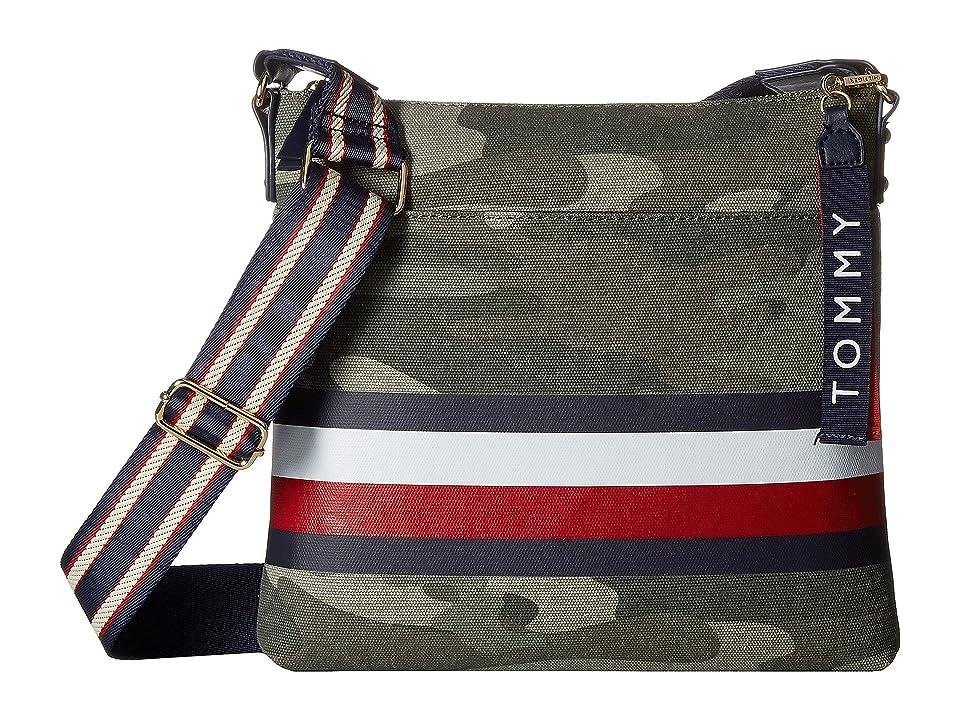 Tommy Hilfiger Carmel Large North/South Camo Canvas Stripe Crossbody (Green) Cross Body Handbags