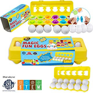 Magic Karula Toys Magic Fun 12 Eggs set, Toddler Study Toy Match Egg Set, Early Educational Toy Helps With Matching Shapes Colors, Recognition Skills, Promoting Eye-Hand Coordination while Having Fun