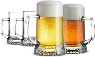 Bormioli Rocco 4-Pack Solid Heavy Large Beer Glasses with Handle – 17.1/4 Ounce..