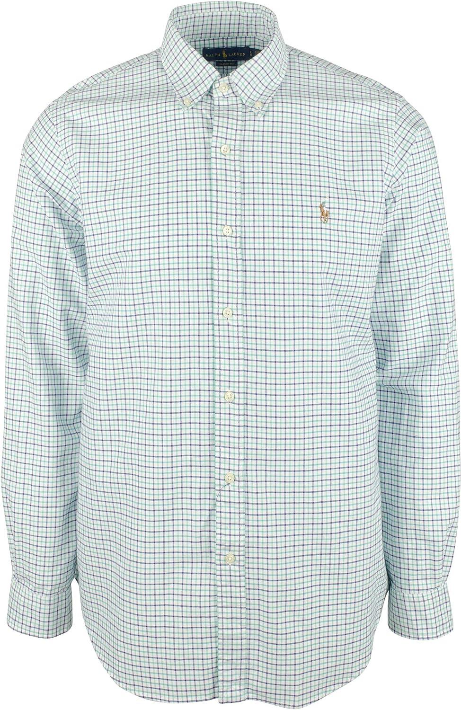 Men's Big and Tall Plaid Long Sleeves Oxford Shirt